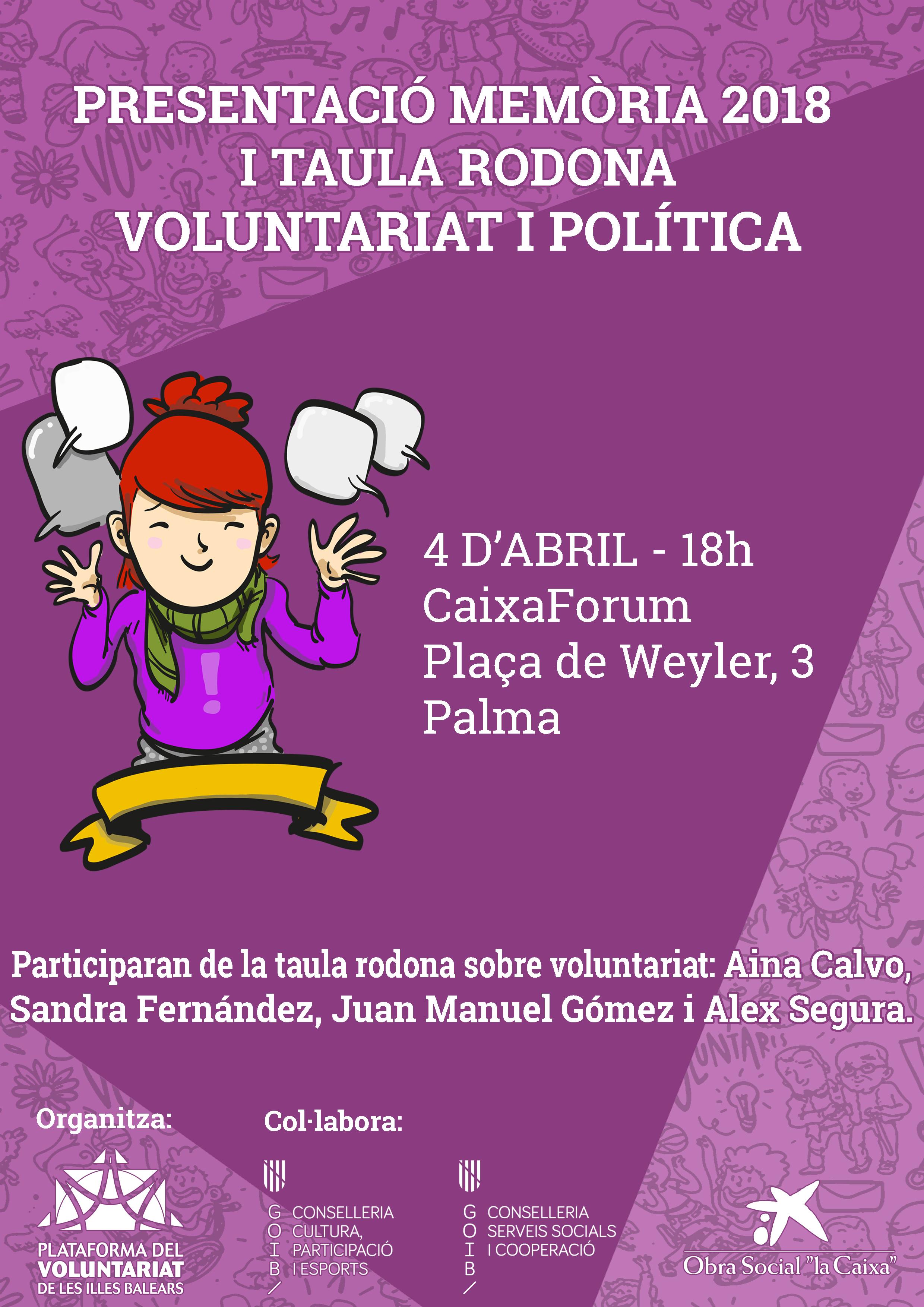 Presentación Memoria de Actividades 2018 y mesa redonda Voluntariado y Política